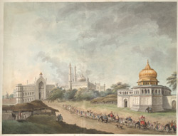 Lord Hastings' party in an elephant procession approaching the Rumi Darwaza in Lucknow